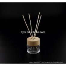 Botella de cristal del difusor de lámina de la forma redonda 130ml con la tapa de madera