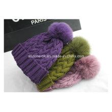 Personalizar a pele real POM POM chapéu de malha de mão chapéu de inverno