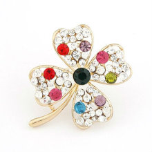 Korea Style Four Leaf Clover Design Rhinestone Brooches BH23