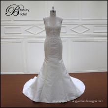 Robe de mariée perlée bretelles Corset sirène dos