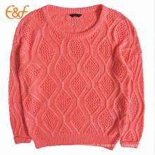 Nouveau Design Ramie Coton Orange Crocheté Filles Pull