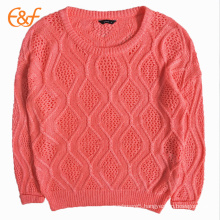 New Design Ramie Cotton Orange Crocheted Girls Sweater