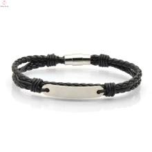Bijoux de mode en cuir de bracelet d'acier inoxydable pour des hommes