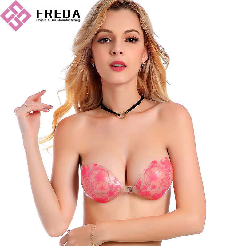 Transparent Flower Printed Silicone Padded Bra
