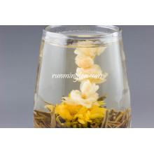 Beleza oriental Bolas de chá florais pretas, chá de florescência