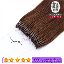 Human Hair Extensions Virgin Remy Hair Easy Pull Knot Thread Hair 18inch Brown Color