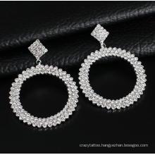 Large Rhinestone Gold Silver Big Circle Dangle Earrings Women Bling Bride Channel Earrings