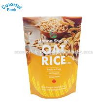 Bolsa de envasado de arroz de 10 kg con ventana / Bolsa de pie con cremallera para envasar bolsas de plástico con cierre de arroz / plástico con asa