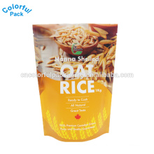 10kg Rice packaging bag with window/Stand up pouch with zipper for packaging rice/plastic ziplock bag manufacture with handle