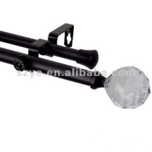 black curtain rod with glass finials