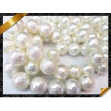 Shell Перл Бусины, граненые Белый Мода Ювелирные изделия Shell Pearl (APS026)