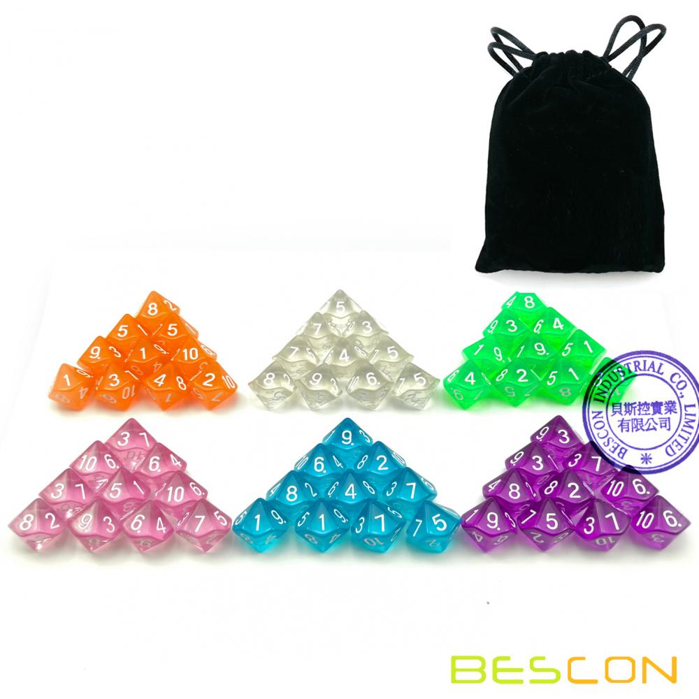 60pcs Assorted Colored Translucent D10 (1-10) Pack,6X10pcs 10 Sides Dice Transparent Polyhedral Dice D10 Set in Drawstring Pouch