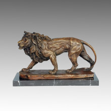 Animal Bronze Sculpture Lion Carving Craft Brass Statue Tpal-209