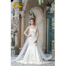 ED Bridal requintado sem mangas Strapless Lace Appliques Beads Andar Length Mermaid Wedding Dresses