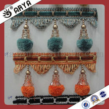 Wholesale Decorative curtain Pompom Fringe Used for Curtain Accessories,Match Drapery Fabric Decorative Curtain Fringe