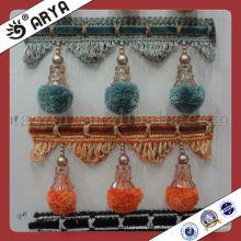 Venda por atacado Cortina decorativa Pompom Fringe Usado para acessórios de cortina, Fralda de cortina decorativa de tecido de cortina de correspondência