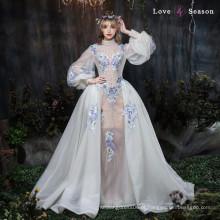 XXLF175 mais recente moda longa top design vestido de noite manga longa vestido de noite das mulheres elegante