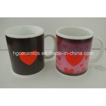 Tasse de changement de couleur de pièce Tasses de sublimation Tasses de café en gros, en céramique et sensible à la chaleur