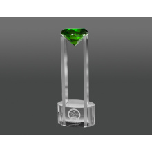 Green diamond in sky