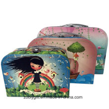 Colorful Children Paper Cardboard Suitcase with Metal Handles
