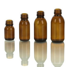 Янтарная стеклянная бутылка для сиропа, отделка шеи DIN28