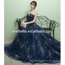 2017 Último estilo azul marino de hombro vestido de noche sexy vestido de noche sexy