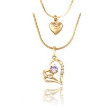 43054 Xuping Schmuck Mode Herzförmige Dame Halskette für Geburtstagsgeschenke
