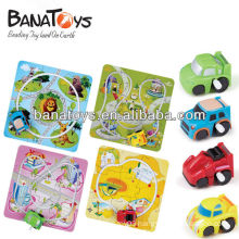Colorful plastic puzzle track wind uptoy car