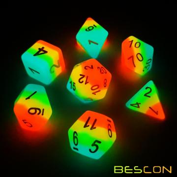 Bescon Fantasy Rainbow Glowing Polyhedral Dice 7pcs Set MIDNIGHT CANDY, Luminous RPG Dice Set Glow in Dark,Novelty DND Game Dice