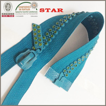 10 # Deux lignes Belle teinte de couleur Fancy Rhinestone Zipper