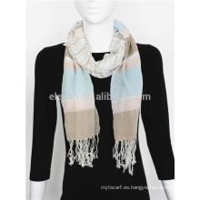 Hilado multicolor de algodón teñido bufanda larga con flecos
