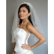 White CRYSTAL RHINESTONE Velo de casamento nupcial New Satin Cord Trim
