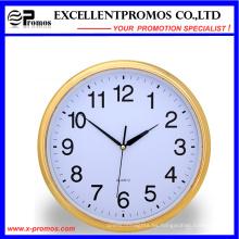 Marco de oro de impresión de logotipo de plástico redondo reloj de pared (item21)