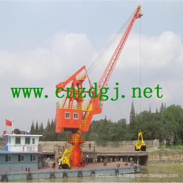 Schwimmende Boot Hydraulikkran mit Greifer