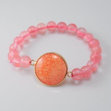 Cherry Quartz Bracelet with Agate Pendant Gemstone jewelry