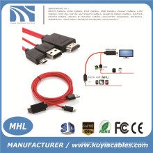 MHL Micro USB a HDMI TV adaptador de cable AV HDTV para SAMSUNG Galaxy S2