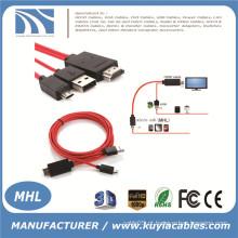 MHL Micro USB para HDMI TV Cabo Adaptador AV HDTV Para SAMSUNG Galaxy S2