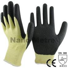 NMSAFETY cut resistante Aramid Fibras luvas de borracha de nitrilo