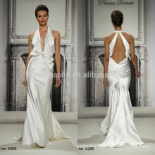 Sexy Halter Open Back Long Silky Satin Sheath Wedding Dress 2014 New Arrival Pnina Tornai Bridal Gown With Bow Adorned NB0663
