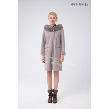Lady Bias Zipper Úc Merino lông cừu Coat