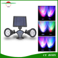 Outdoor Wireless 400 Lumens RGB 8LED Solar Powered LED Spotlight, Dual Head Waterproof Flexible Wall Mount Garden Light