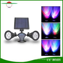 Proyector accionado solar sin hilos al aire libre de 400 lúmenes RGB 8LED LED, luz flexible del jardín del soporte de la pared de la cabeza dual impermeable
