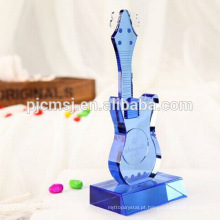 Instrumento musical da guitarra de cristal azul para as decorações & os presentes Home CO-M003