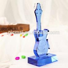 Instrumento musical da guitarra de cristal azul para as decorações & os presentes Home CO-M003