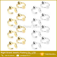 Silber Gold Farbe Edelstahl gefälschte Ohrring Piercing Ringe