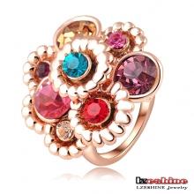 Multicolor austríaco cristal flor anel de noivado (Ri-HQ0003)
