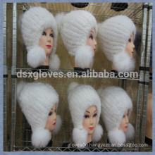 White Mink Fur Cap With Solid Spheres