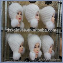 White Mink Fur Cap Com Esferas Sólidas