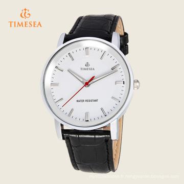Montre-bracelet analogique en cuir de quartz des hommes de mode 72304
