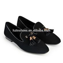 Tongning plana señora zapatos de moda de diseño de ocio casual zapatos de mujer con borla cuadrados dedo del pie plana holgazanes para las damas